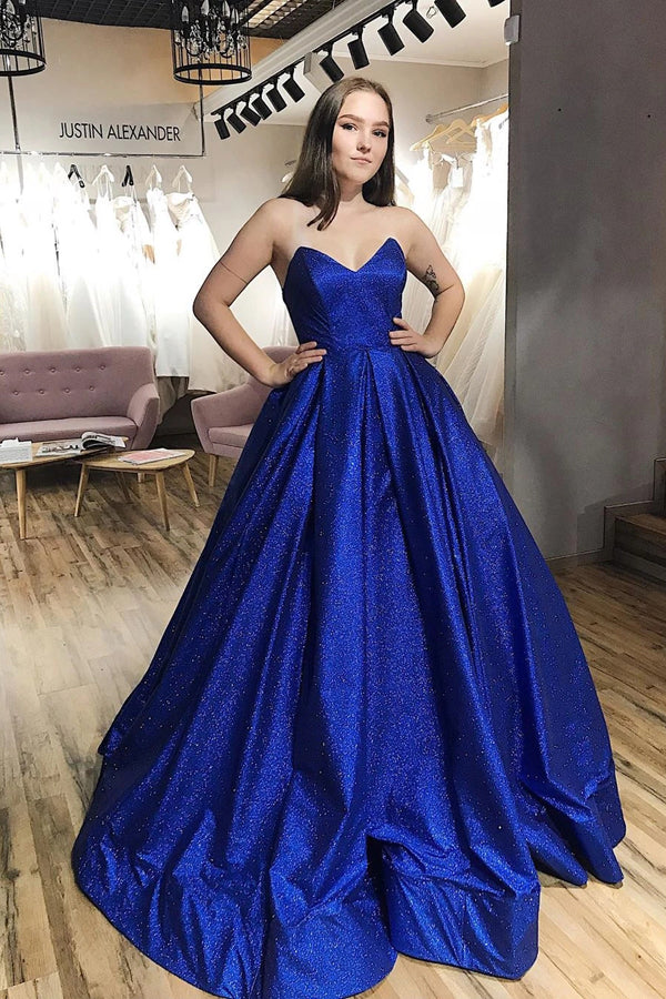 Sparkle Royal Blue Tulle Strapless V-neck A-Line Prom Dress with Pockets,MP574 | musebridals.com