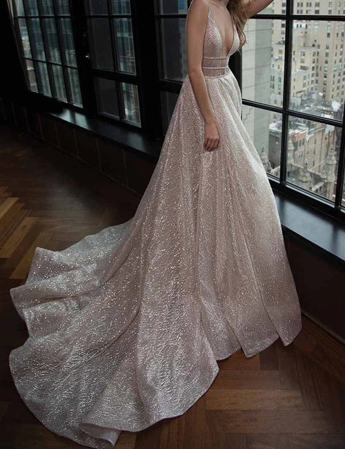 Simple Prom Dresses V-neck Silver Organza Long Prom Dress/Evening Dress,MP577 | musebridals.com