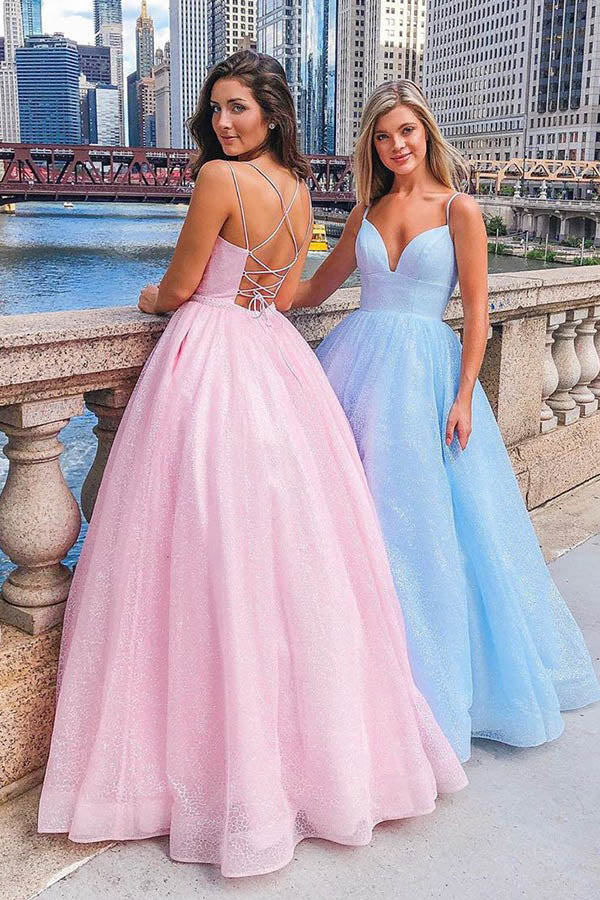Spaghetti Straps A-Line V-neck Floor-length Pink Tulle Long Prom Dress,MP583