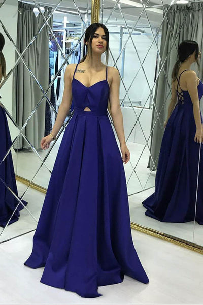 Simple Royal Blue Satin A-line Floor-length Sweetheart Long Prom Dress,MP585