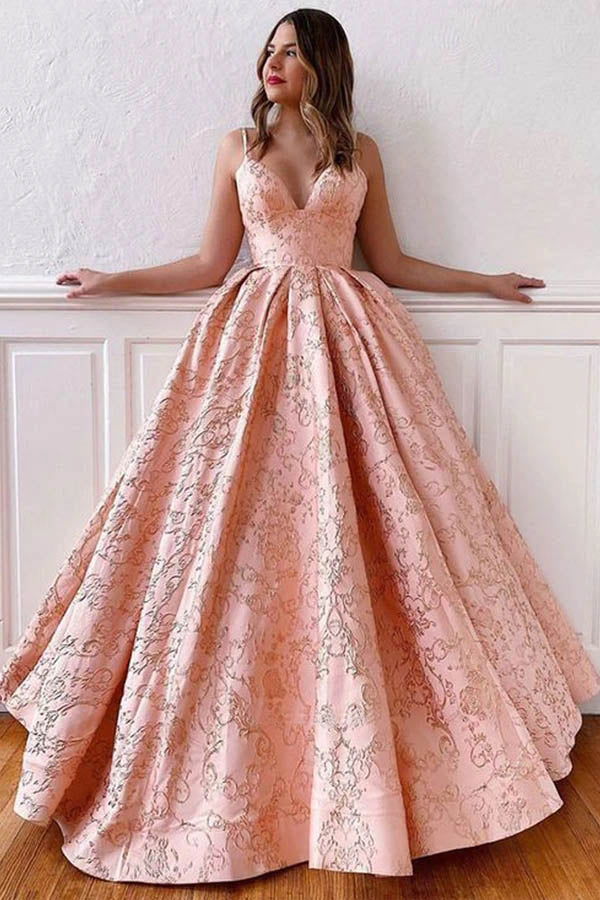 Satin Ball Gown V-neck Straps Cross Back Blush Pink Long Prom Dresses,MP587