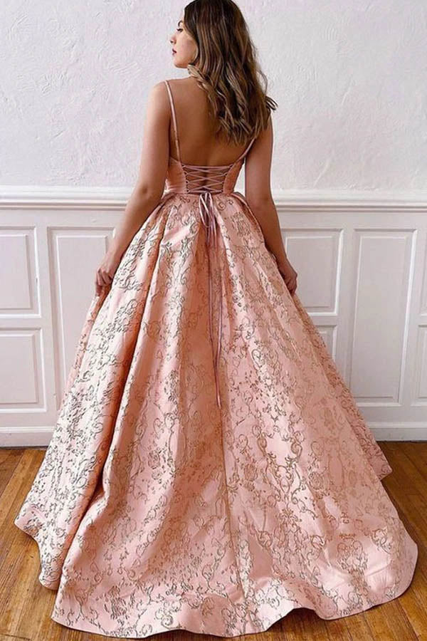 Satin Ball Gown V-neck Straps Cross Back Blush Pink Long Prom Dresses,MP587 | musebridals.com