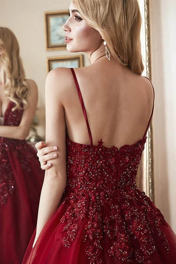 Elegant Tulle Straps Ball Gown Beaded Burgundy Long Prom Dress,MP588 | musebridals.com