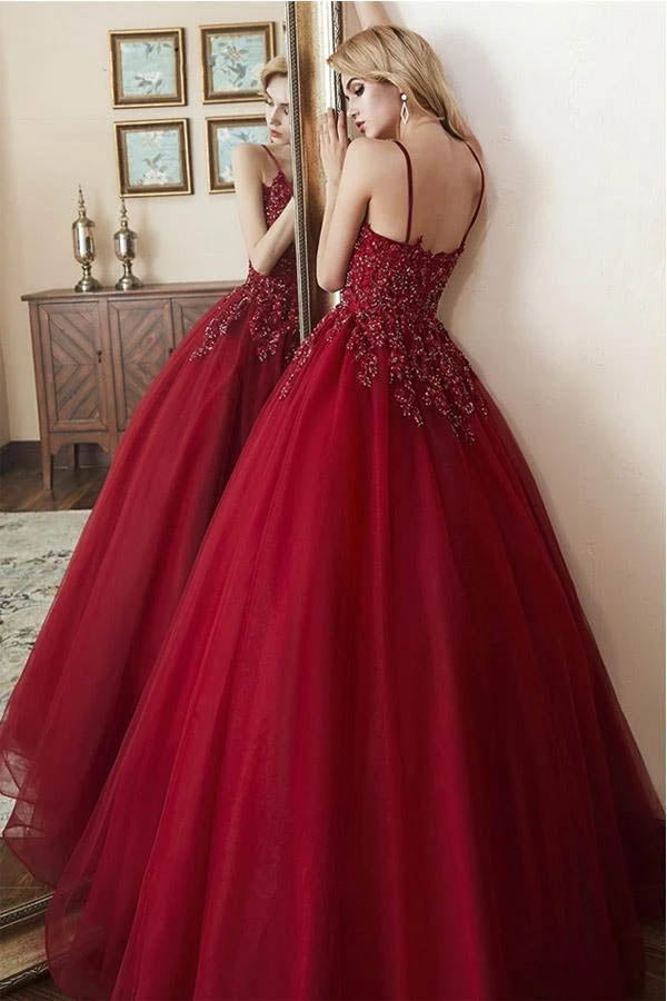 Elegant Tulle Straps Ball Gown Beaded Burgundy Long Prom Dress,MP588