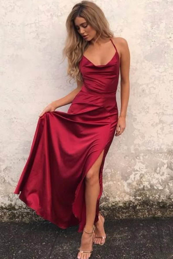 Sain A-line Spaghetti Straps Floor-length Red Prom Dress With Slit,MP590