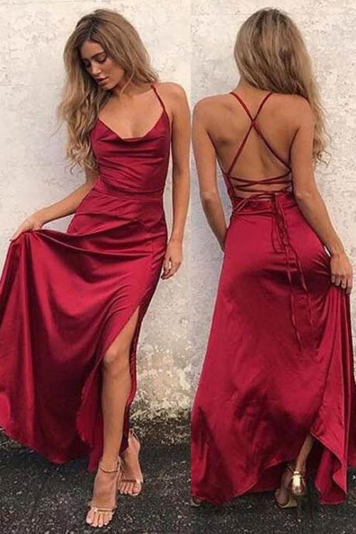 Sain A-line Spaghetti Straps Floor-length Red Prom Dress With Slit,MP590 | musebridals.com