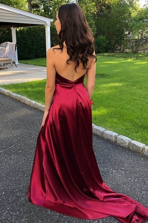 Satin V-neck Red A-Line Spaghetti Straps Sweep Train Prom Dress With Slit,MP591 | musebridals.com