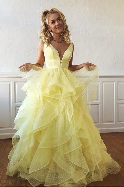 Tulle V-neck Yellow Prom Dresses A-line Long Party Dresses with Ruffles,MP592