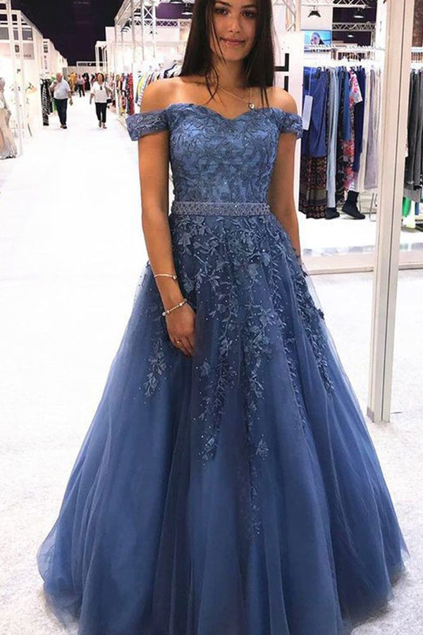 Charming Ball Gown Off the Shoulder Lace Tulle Long Prom Dresses with Beaded,MP599