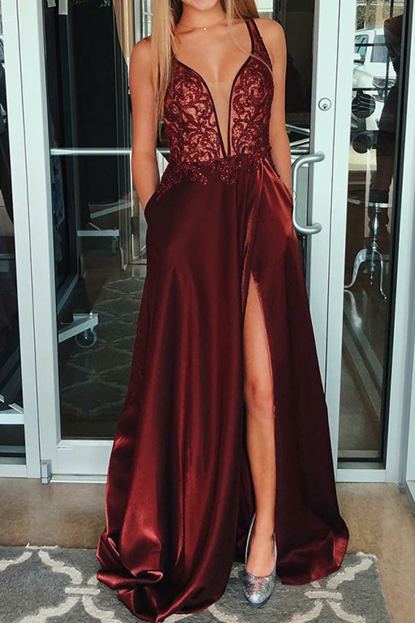 Cute A-line V-neck Burgundy Beaded Slit Prom Dresses with Pockets,Evening Party Dresses,MP600