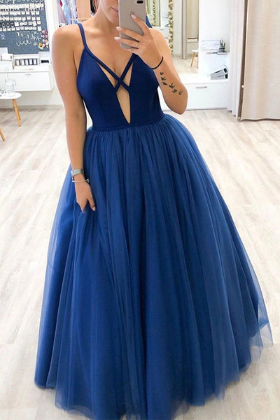 Charming Ball Gown Deep V-neck Royal Blue Long Prom Dresses with Straps,MP603