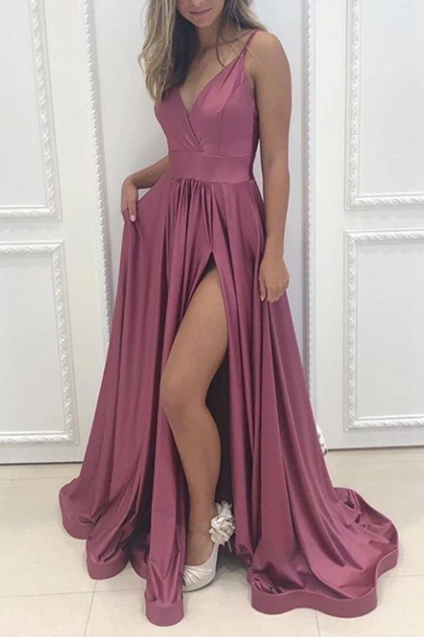 Fashion A-line V-neck Rose Satin Long Prom Dresses with Slit,Evening Party Dresses,MP604