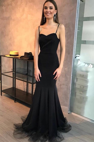 Simple Mermaid Sweetheart Spaghetti Straps Black Long Prom Dresses,Evening Dresses,MP605