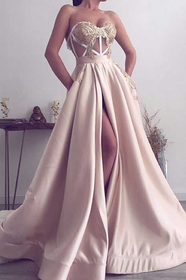 Satin Sweetheart Long Floor-length Prom Evening Dresses with Appliques Split,MP608