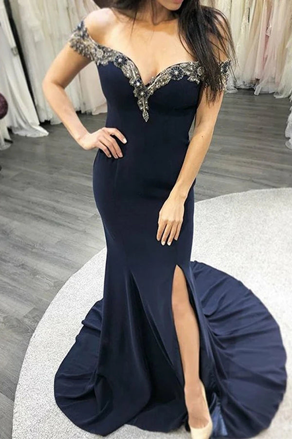 Mermaid Navy Blue Long Prom Evening Dresses Appliques Off the Shoulder,MP609