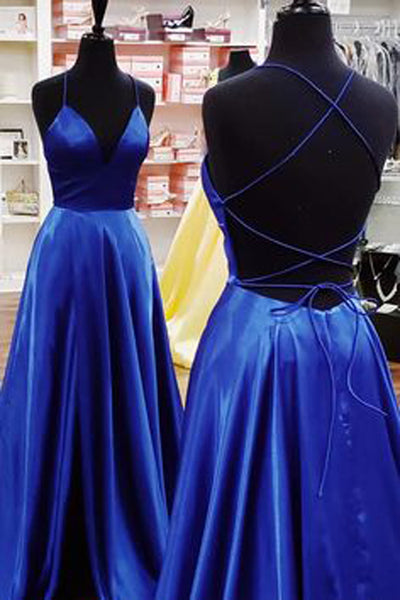 Simple A-line V-neck Spaghetti Straps Cross Back Royal Blue Satin Long Prom Dresses with Pockets,MP610