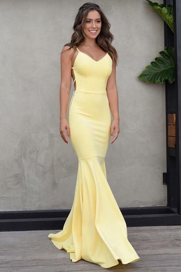 Charming  Satin Mermaid Sweetheart Spaghetti Straps Long Prom Dresses,Elegant Evening Dresses,MP612