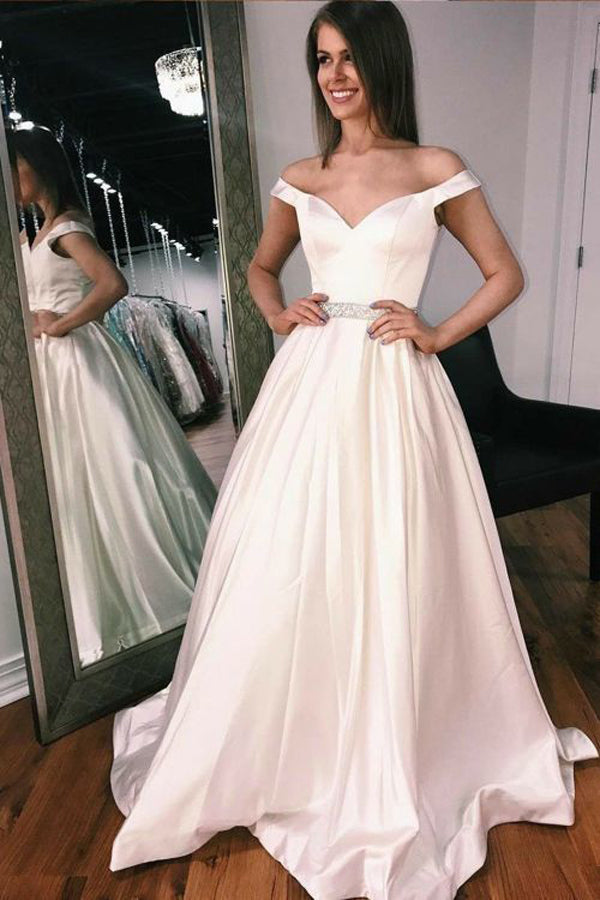 Satin Off the Shoulder Long Prom Dresses with Beading Ivory Party Dresses,MP614