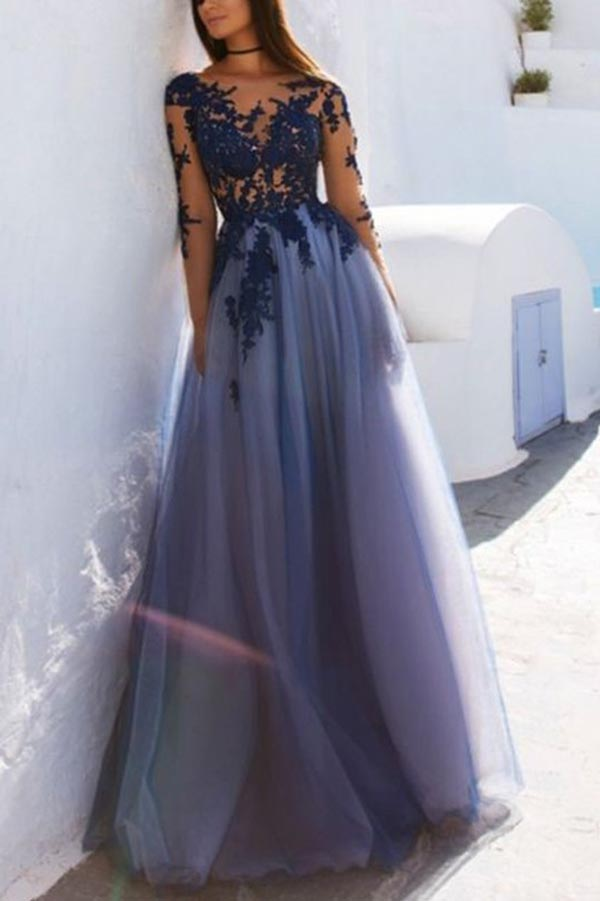 See Through Blue Lace Long Sleeve Open Back Long Evening Prom Dresses,MP617