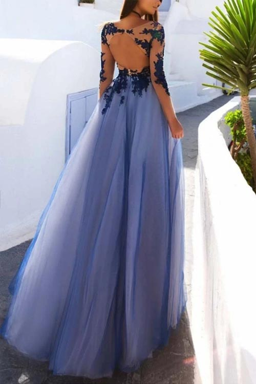 See Through Blue Lace Long Sleeve Open Back Long Evening Prom Dresses,MP617 | musebridals.com