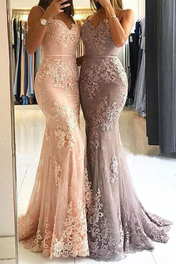 Sweetheart Spaghetti Straps Lace Mermaid Floor Long Evening Prom Dresses,MP618