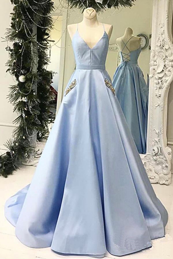 Simple V-neck Sky Blue A-line Satin Long Prom Dresses with Pocket,MP624