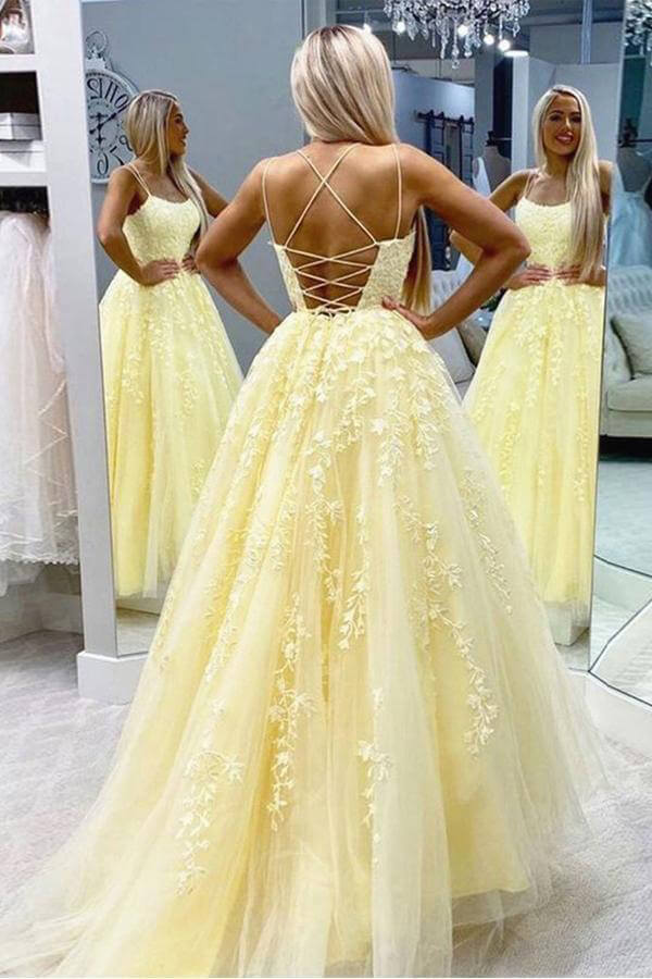 Yellow Tulle Spaghetti Straps Scoop A-Line Prom Dresses with Appliques, MP628 | long prom dresses | party dresses | evening dresses | formal dresses | musebridals.com