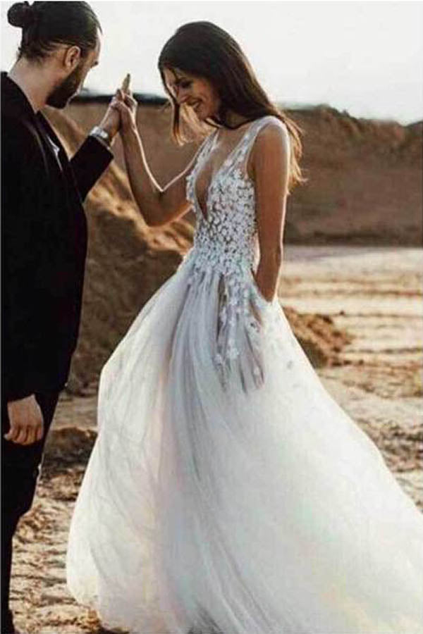 See Through Wedding Dresses.Sexy Tulle See Through A Line V Neck Beach Wedding Dresses With Slit Mw261