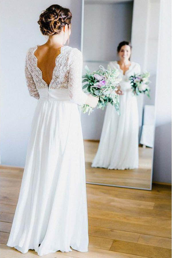 Elegant See Through 3/4 Sleeve Backless Lace and Chiffon Rustic Wedding Dress, MW262