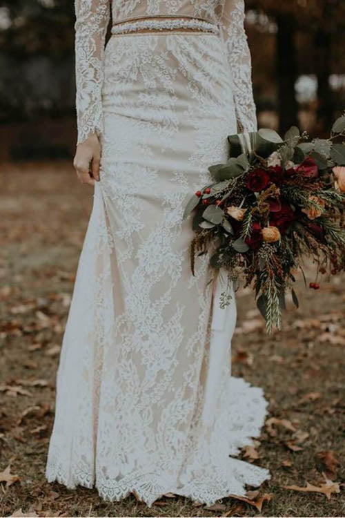 Elegant Vintage Ivory Backless Long Sleeve Rustic Lace Wedding Dresses, MW264 at musebridals.com