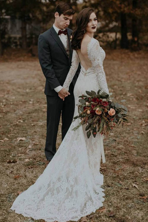 musebridals.com offer Elegant Vintage Ivory Backless Long Sleeve Rustic Lace Wedding Dresses, MW264