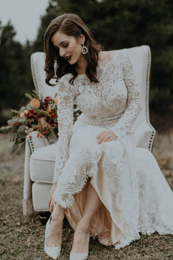 Elegant Vintage Ivory Backless Long Sleeve Rustic Lace Wedding Dresses, MW264