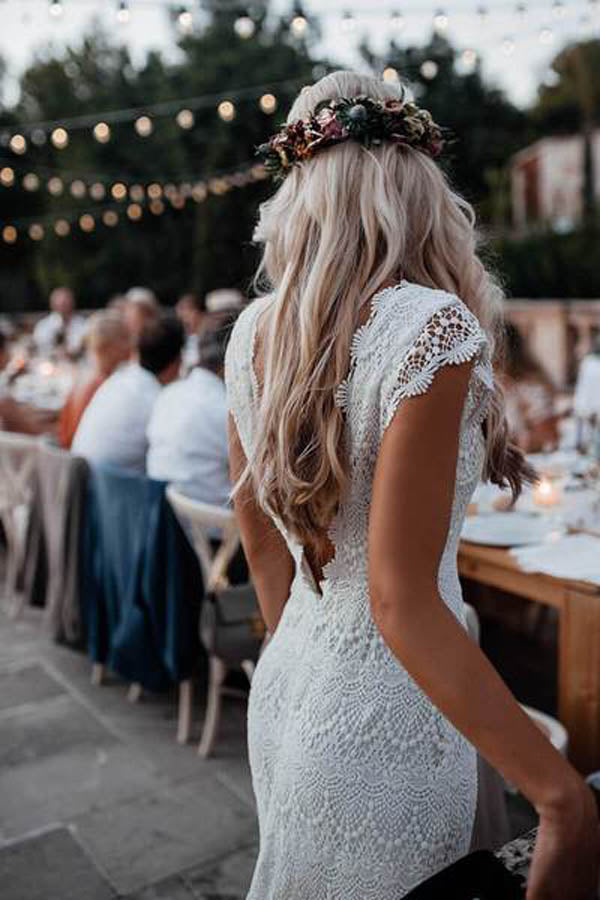 Lace Boho Mermaid Backless Cap Sleeve Bohemian Wedding Dresses ,MW265 at musebridal.com