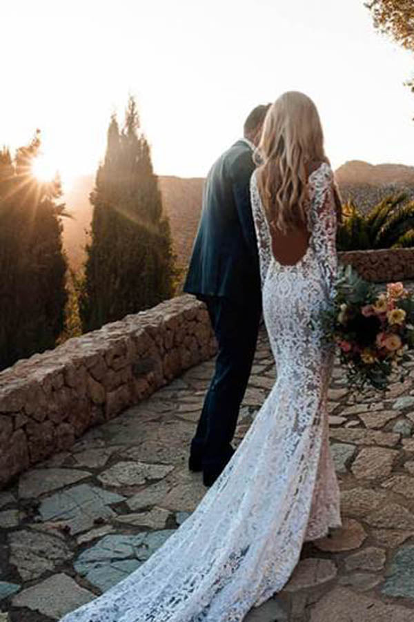 Charming Long Sleeve See Through Lace Rustic Mermaid Wedding Dress,MW266 at musebridal.com