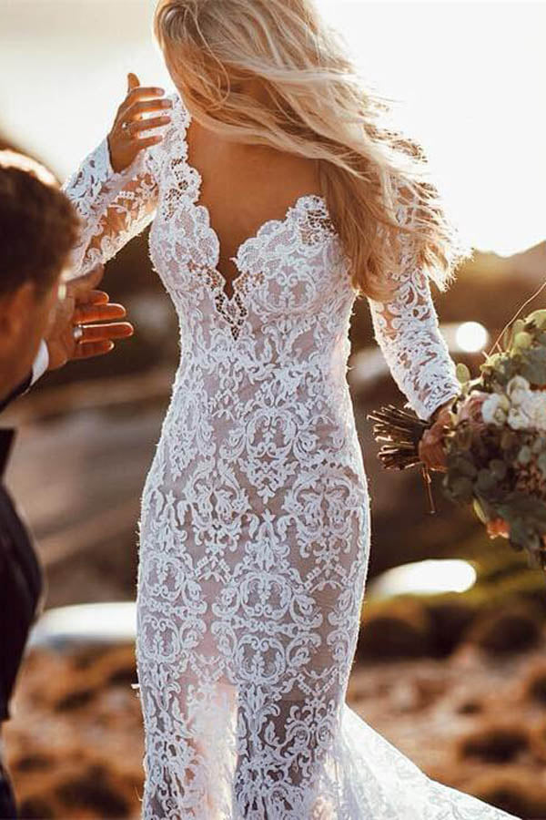 Musebridal.com offer Charming Long Sleeve See Through Lace Rustic Mermaid Wedding Dress,MW266