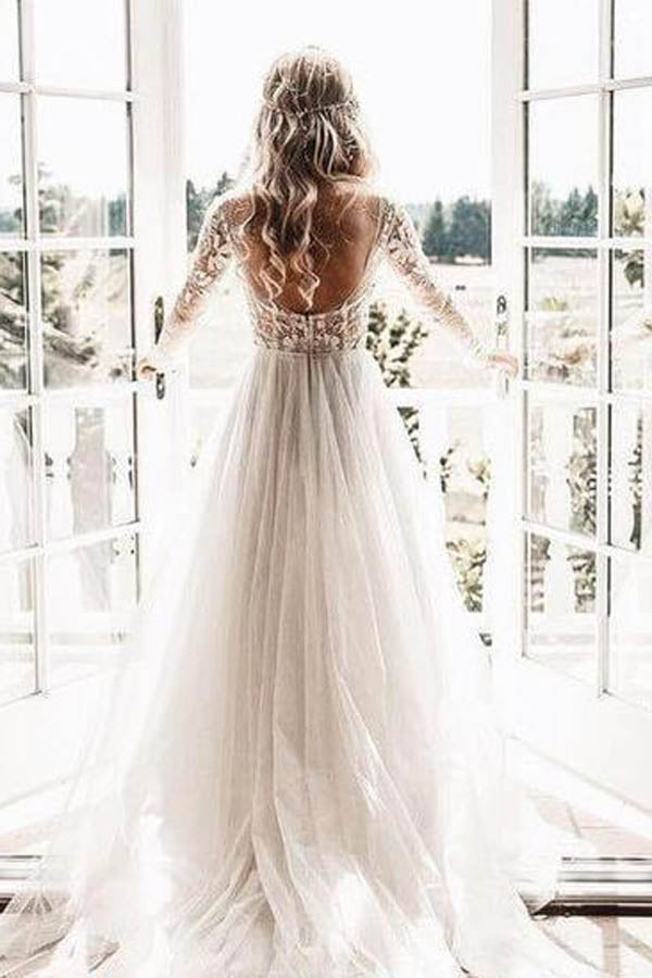 See Through Beaded Floral Lace Long Sleeve Boho Wedding Dresses,MW269 at musebridals.com