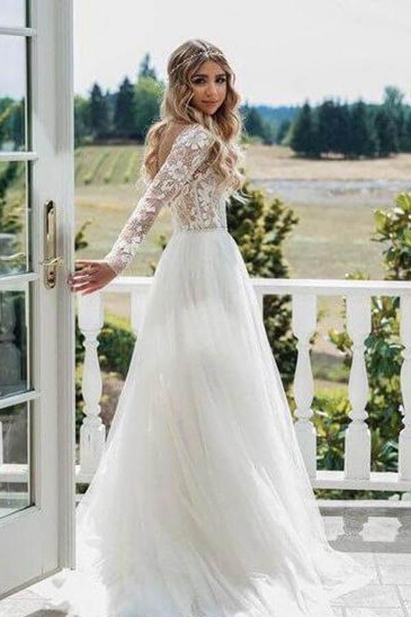 See Through Beaded Floral Lace Long Sleeve Boho Wedding Dresses,MW269