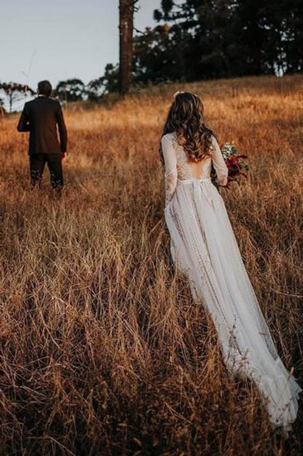 Lace Polka Dot Boho with Sleeves Bohemian Wedding Dress,MW274 at musebridals.com