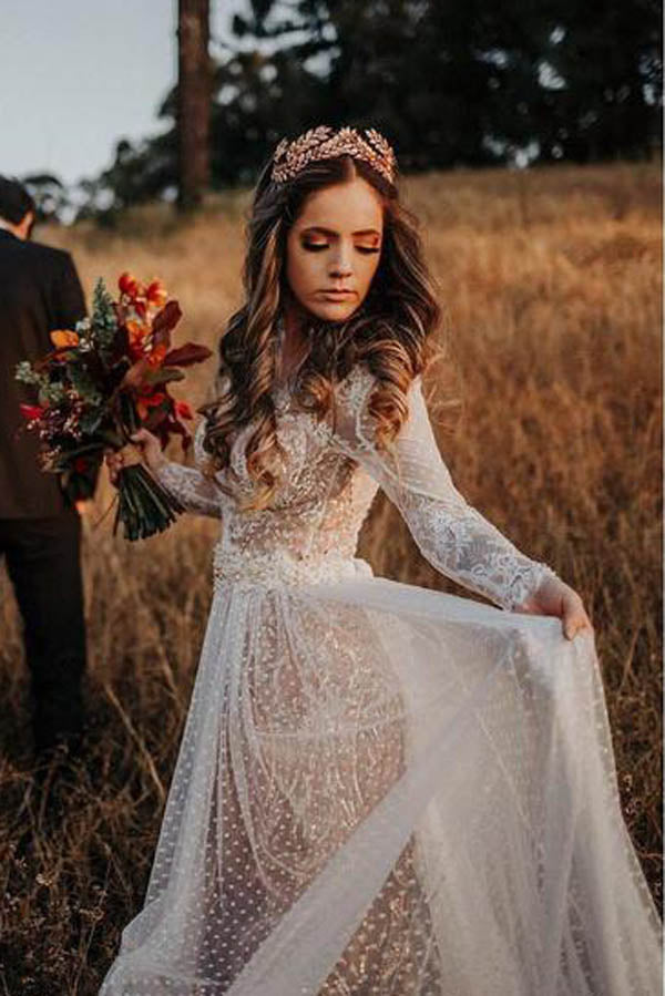 Lace Polka Dot Boho with Sleeves Bohemian Wedding Dress,MW274