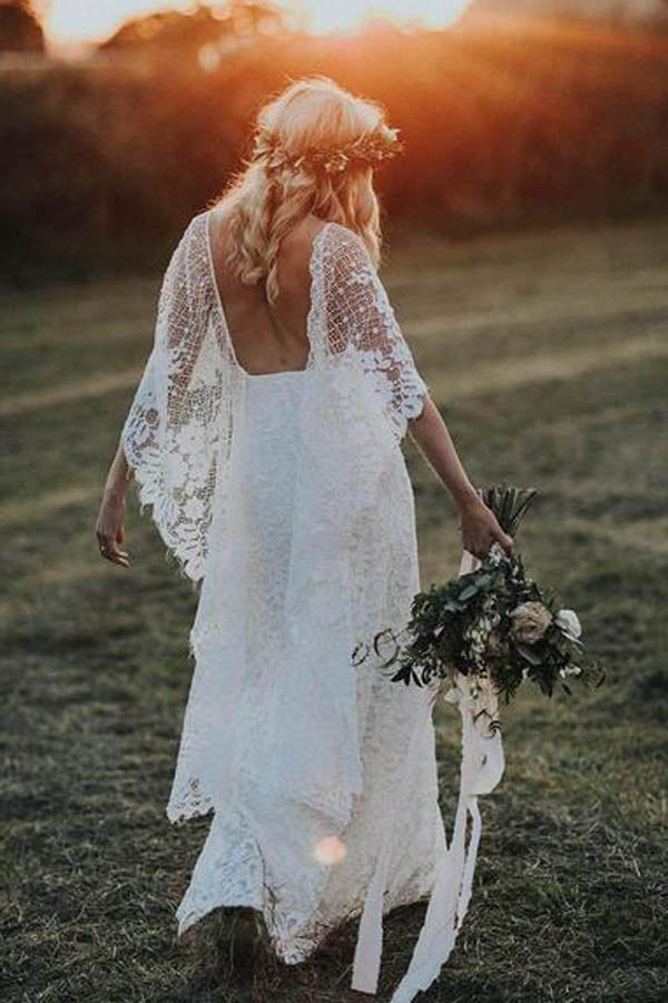 SheathBoho Batwing Sleeve Lace Rustic Ivory Wedding Dresses ,MW276