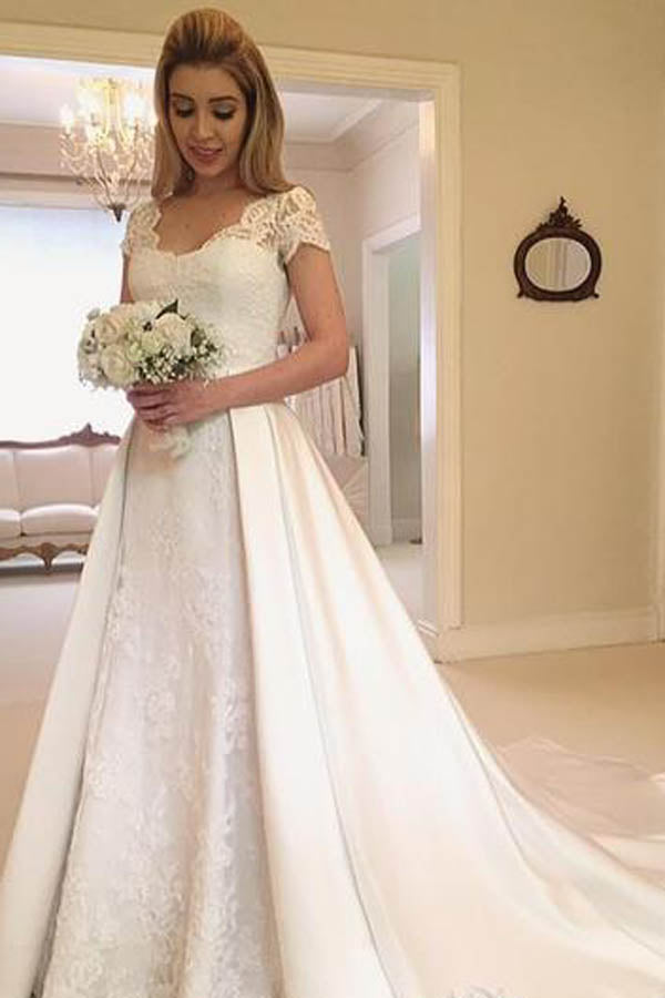 Simple Cap Sleeve Lace Modest Wedding Gown,MW277