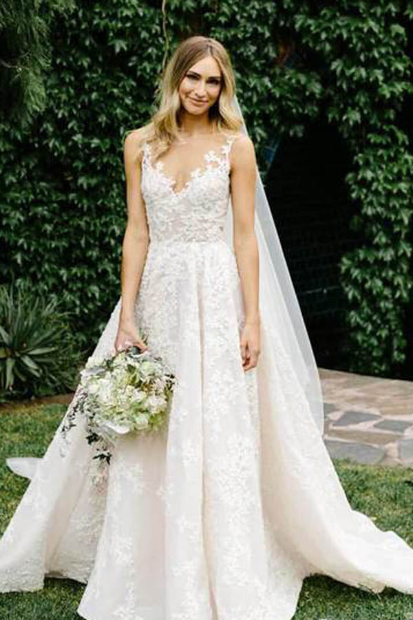 See Through Vintage Lace Illusion Neck Wedding Gowns,MW278