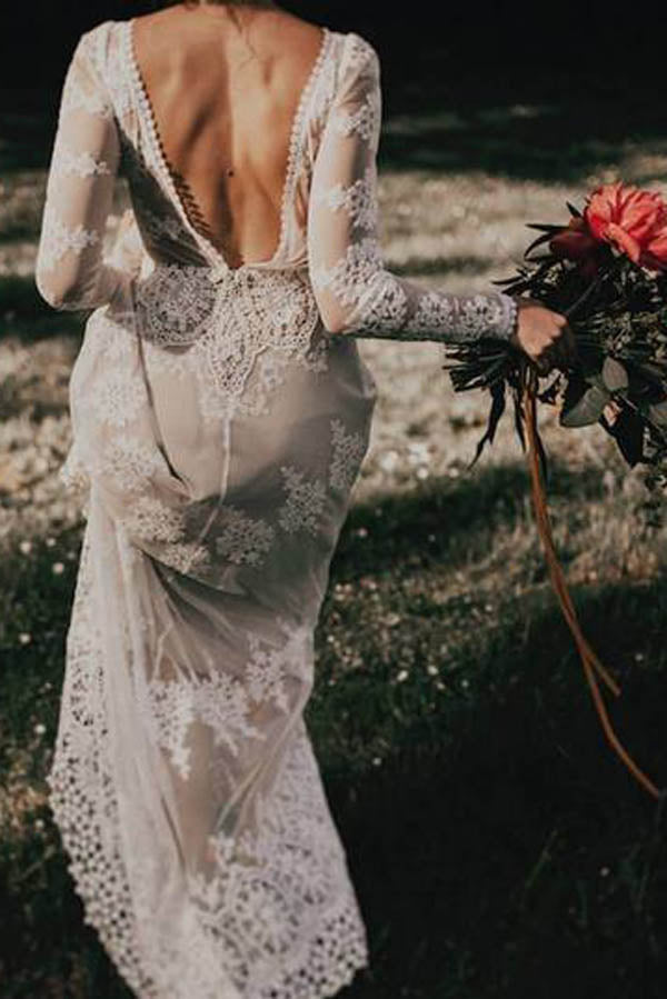 Musebridals.com offer Sheath Backless Lace Long Sleeve Ivory Applique Country Wedding Dress,MW280