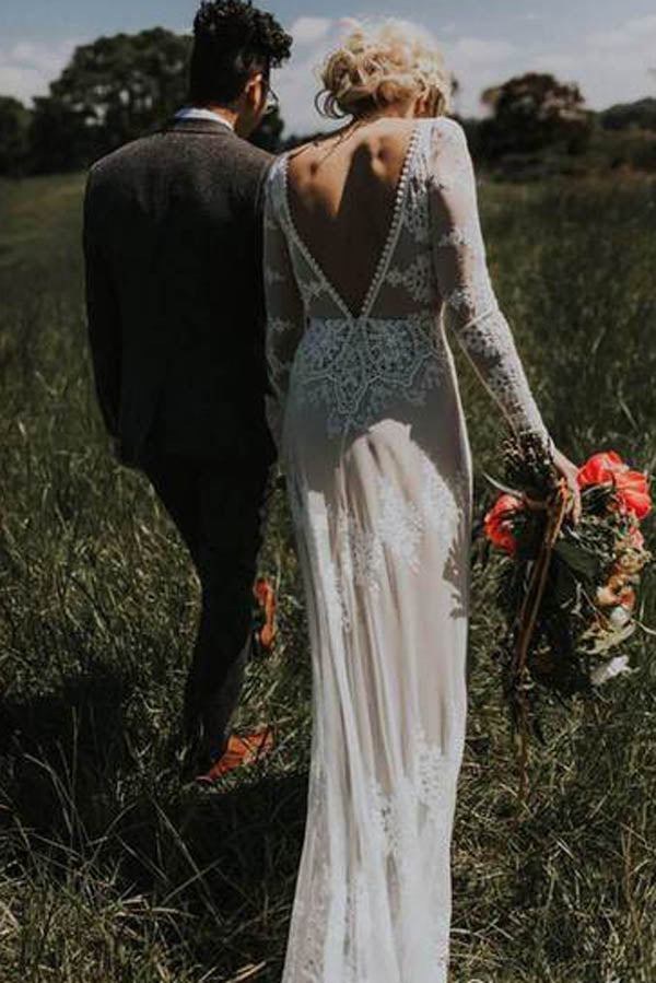 Sheath Backless Lace Long Sleeve Ivory Applique Country Wedding Dress,MW280