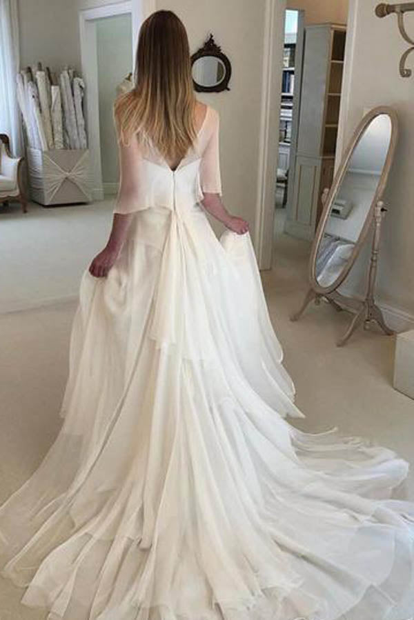 Simple Elegant Chiffon with Wrap Sleeve Beach Wedding Dresses  ,MW282 at musebridals.com