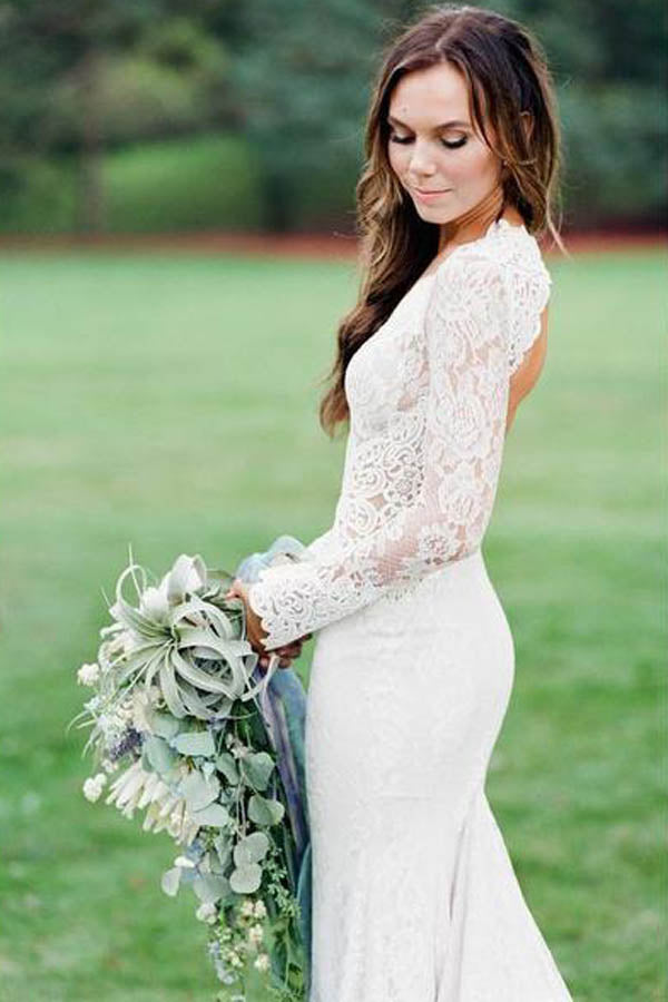 Mermaid Ivory Backless Long Sleeve Lace Wedding Dresses ,MW283