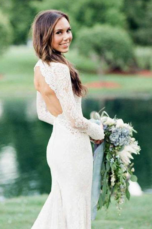 Mermaid Ivory Backless Long Sleeve Lace Wedding Dresses ,MW283 at musebridals.com