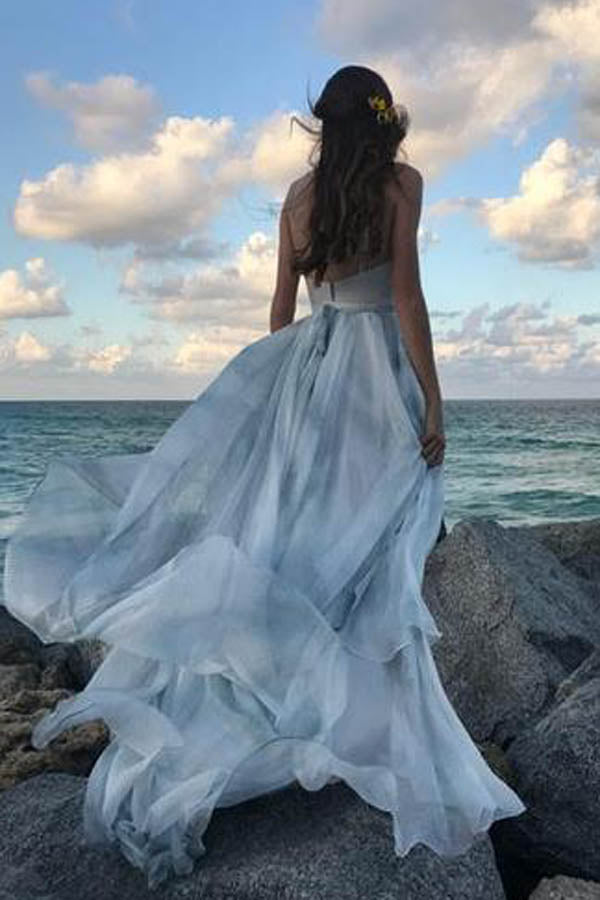 Off the Shoulder Ombre Beach Wedding Dresses ,MW284