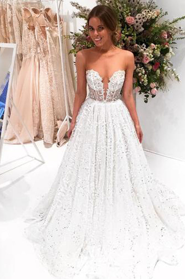 Chic Sparkly Bateau A-line Sexy Long Lace Wedding Dress Sweep Train, MW285
