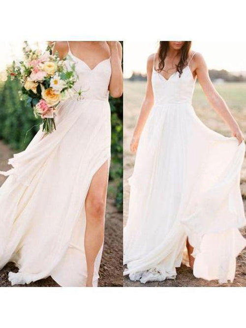 1be8fcadc0 Musebridals.com offer Simple Spaghetti Strap Summer Cheap Wedding Dresses  with Slit
